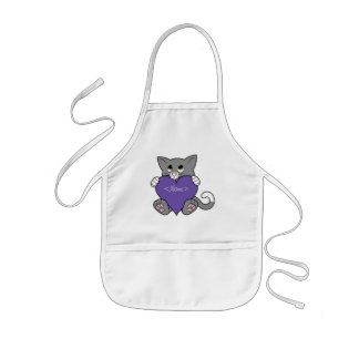 Valentine's Day Gray Cat with Purple Heart Kids' Apron
