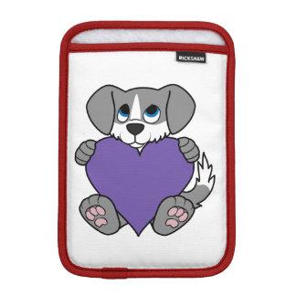 Valentine's Day Gray Dog with Blaze & Purple Heart Sleeve For iPad Mini