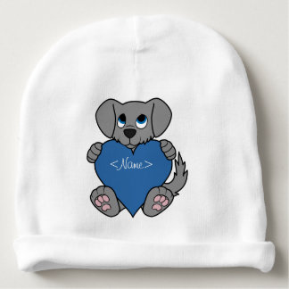 Valentine's Day Gray Puppy Dog with Blue Heart Baby Beanie