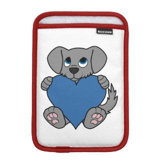 Valentine's Day Gray Puppy Dog with Blue Heart iPad Mini Sleeve