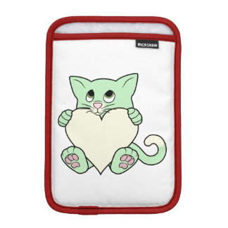 Valentine's Day Green Cat with Cream Heart Sleeve For iPad Mini