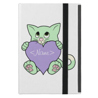 Valentine's Day Green Cat with Light Purple Heart iPad Mini Cover