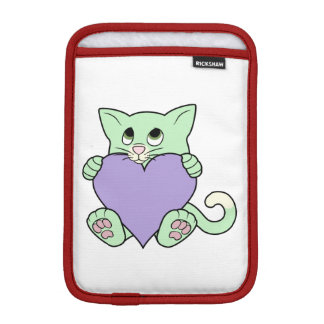 Valentine's Day Green Cat with Light Purple Heart iPad Mini Sleeve