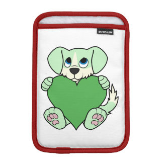Valentine's Day Green Dog with Blaze & Heart Sleeve For iPad Mini