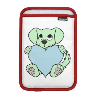 Valentine's Day Green Dog with Light Blue Heart Sleeve For iPad Mini