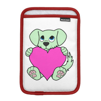 Valentine's Day Green Dog with Pink Heart Sleeve For iPad Mini