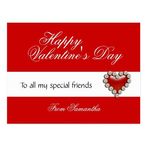 Valentine's day greeting school kids postcard