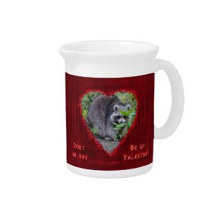 Valentine's Day Greeting - Shy Raccoon Pitchers