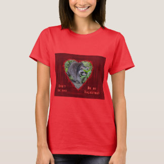 Valentine's Day Greeting - Shy Raccoon T-Shirt
