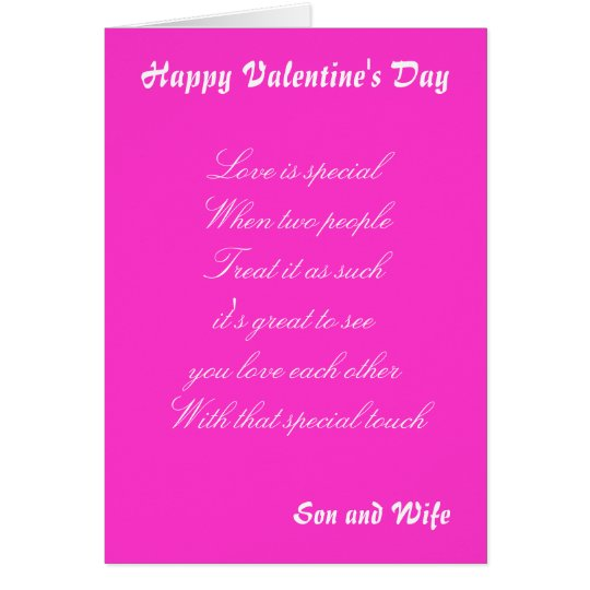 Valentine's  day  greetings cards-son and wife card