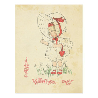 Valentine's Day Greetings Vintage Cute Girl Heart Postcard