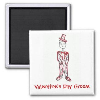 Valentine's Day Groom 2 Inch Square Magnet