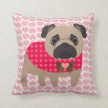 Valentines Day Handsome Pug Pillow