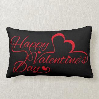 "Valentine's Day ""Happy Valentine's Day!"" Red Lumbar Pillow"