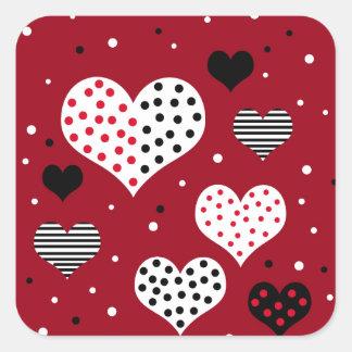 Valentine's day harts square sticker