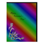 """Valentine's Day - heart and butterfly on Rainbow 4.25"""" X 5.5"""" Invitation Card"""