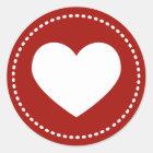 Valentine's Day Heart Classic Round Sticker
