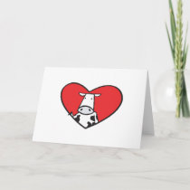 Valentines Day Heart Cow Holiday Card