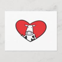 Valentines Day Heart Cow Holiday Postcard