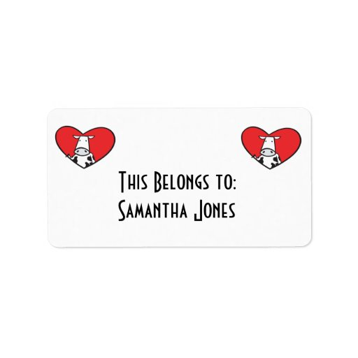 Valentines Day Heart Cow Personalized Address Label