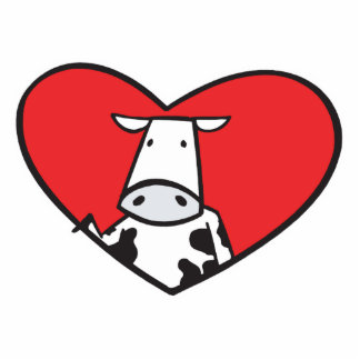 Valentines Day Heart Cow Standing Photo Sculpture