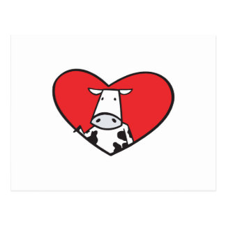 Valentines Day Heart Cow Postcards