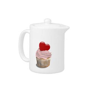 Valentine's day heart cupcake teapot