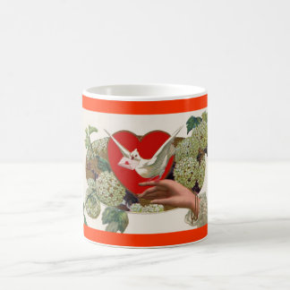 Valentine's Day Heart Floral Bird Coffee Mug