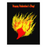 """Valentine's Day -  heart in flame 4.25"""" X 5.5"""" Invitation Card"""