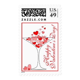 Valentines Day Heart Love Cocktail Postage