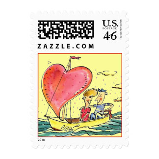 Valentines Day Heart Sailing Along Couple STAMPS