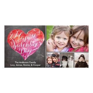 Valentine's Day Heart Script Chalkboard Card
