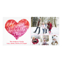 Valentine's Day Heart Script White Card