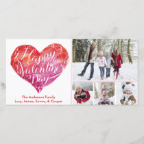 Valentine's Day Heart Script White Holiday Card