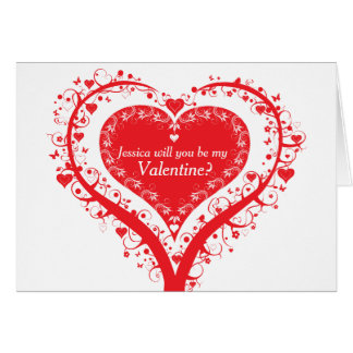 Valentines day heart tree red white card