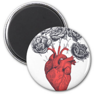 Valentine's day heart with flowers magnet
