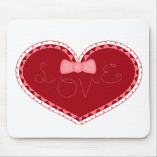 """Valentine's Day Heart with """"Love"""" Stitched On It Mousepads"""