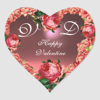 VALENTINE'S DAY HEART WITH PINK ROSES MONOGRAM STICKER