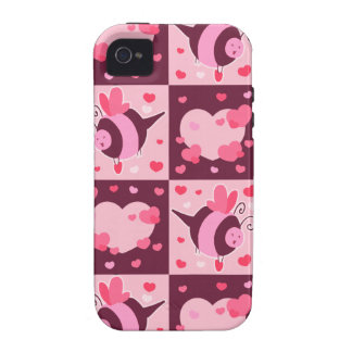 Valentine's Day Hearts and Bumble Bees iPhone 4 Cases