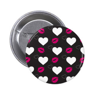 Valentine's day hearts and lips: get kisses 2 inch round button