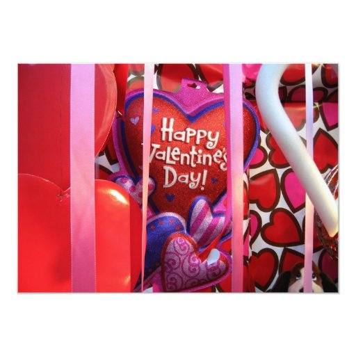 Valentines Day Hearts and Streamers 5x7 Paper Invitation Card