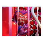Valentines Day Hearts and Streamers Postcard