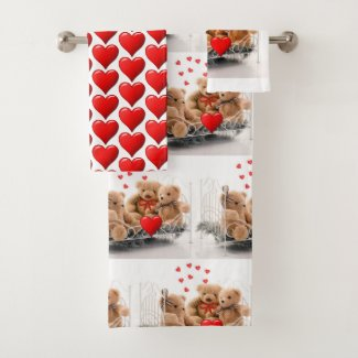 Valentine's Day Hearts and Teddy Bears Towel Set