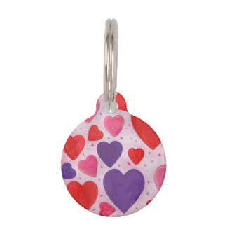 Valentine's Day Hearts in Pink, Purple & Red Pet Tag