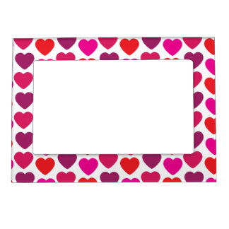 Valentine's Day Hearts in Pink, Red, Purple Magnetic Photo Frames
