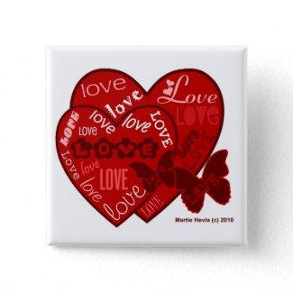 Valentine's Day Hearts & Love Button/Pin (2) button