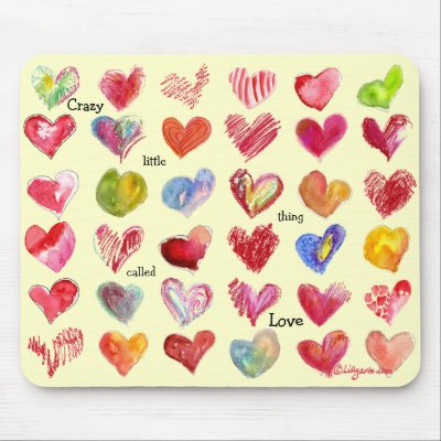 Valentines Day Hearts Mouspad Mouse Pads by lillyarts
