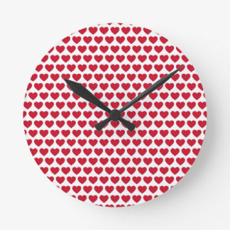 Valentines Day Hearts Pattern Affordable Round Wallclocks