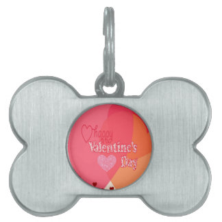 Valentines Day Hearts Pet Name Tag