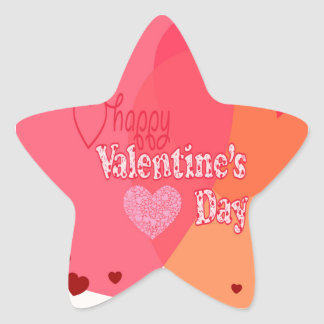Valentines Day Hearts Star Sticker